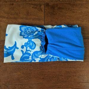Lululemon Blue Floral Wide Headband w/Pony Hole